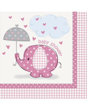 Sada 16 růžových servítků - Umbrellaphants Pink