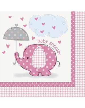 Sæt af 16 store pink servietter - Umbrellaphants Pink
