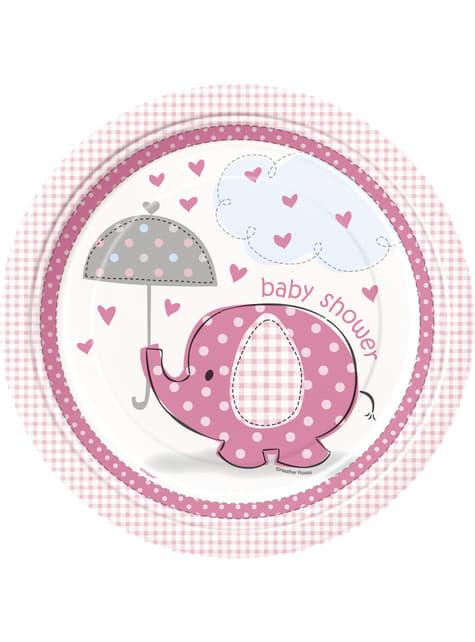 8 platos rosas (23 cm) - Umbrellaphants Pink
