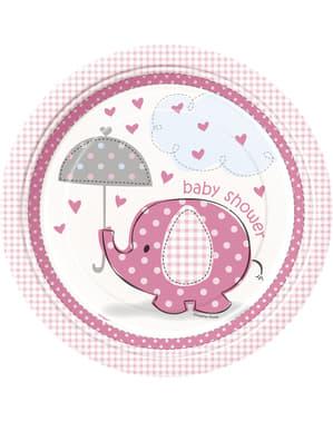 Sæt af 8 medium pink tallerkner - Umbrellaphants Blue