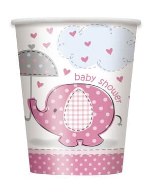 סט 8 כוסות ורודות בינוניות - Umbrellaphants ורוד