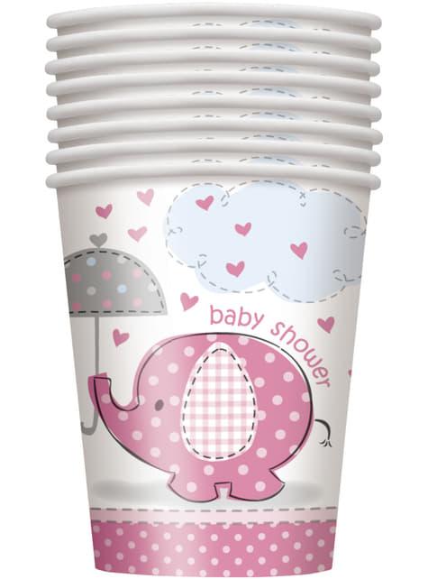 8 vasos rosas - Umbrellaphants Pink - para tus fiestas