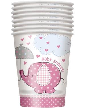 Sada 8 středních růžových kelímků - Umbrellaphants Pink