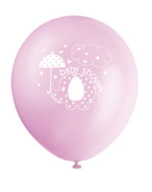 Zestaw 8 różowych balonów - Umbrellaphants Pink