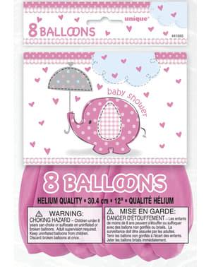 Sett med 8 rosa ballonger - Umbrellaphants Rosa
