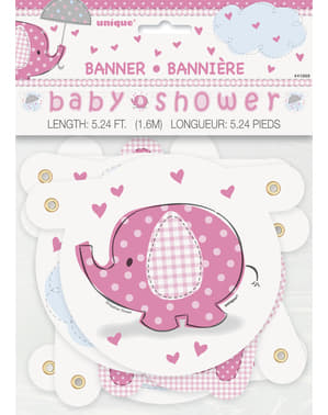 Pinkki Baby Shower viiri - Umbrellaphants Pink