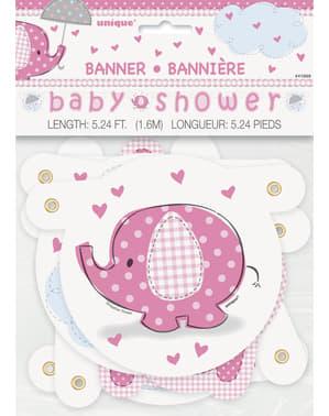 Рожева гірлянда Baby Shower - Umbrellaphants Pink
