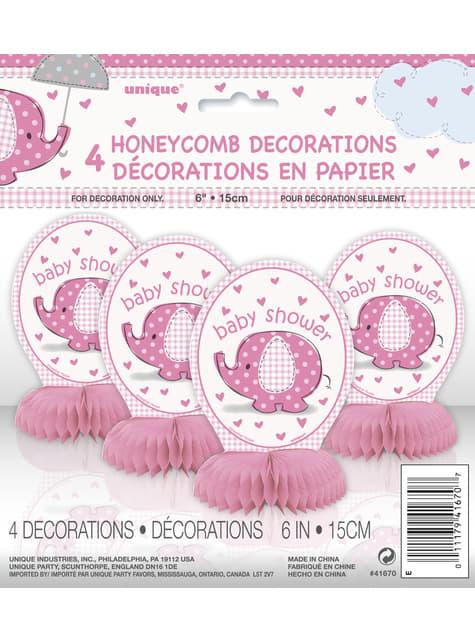4 decoraciones de mesa rosas - Umbrellaphants Pink - para tus fiestas