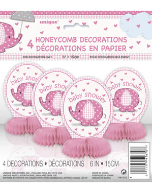 Sæt af 4 pink bord dekorationer - Umbrellaphants Blue