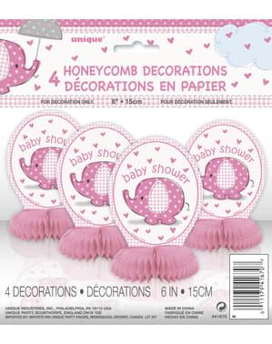 Zestaw 4 różowych dekoracji na stół - Umbrellaphants Pink