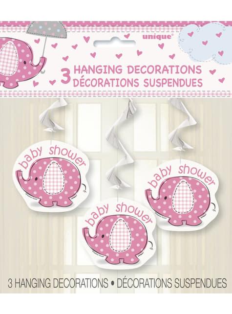 3 decoraciones colgantes rosas - Umbrellaphants Pink - para tus fiestas