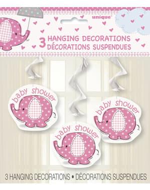 Комплект от 3 розови висящи декорации - Umbrellaphants Pink