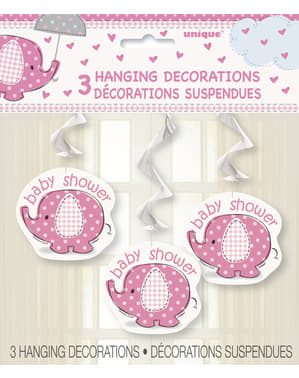 3 pink hanging decorations - Umbrellaphants Pink