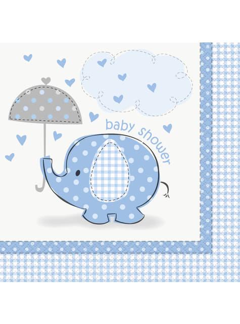 Conjunto de guardanapos azul grandes - Umbrellaphants Blue