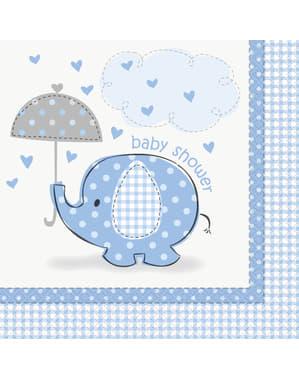 16 servetten in blauw (33x33 cm) - Umbrellaphants Blue