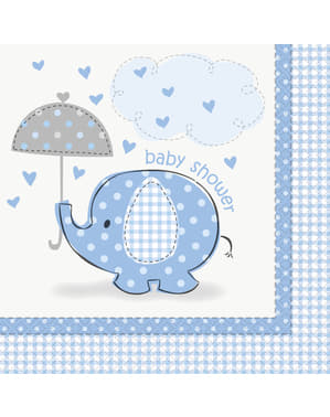 12 Servietten blau (33x33 cm) - Umbrellaphants Blue