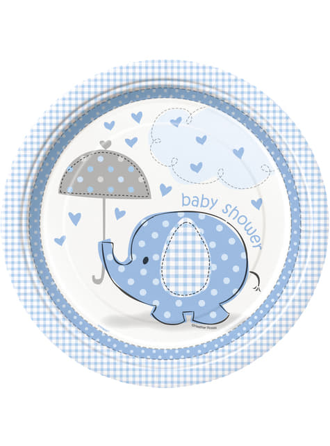 Conjunto de 8 pratos médios azuis - Umbrellaphants Blue