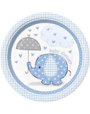 Set 8 tallrikar medium blåa - Umbrellaphants Blue