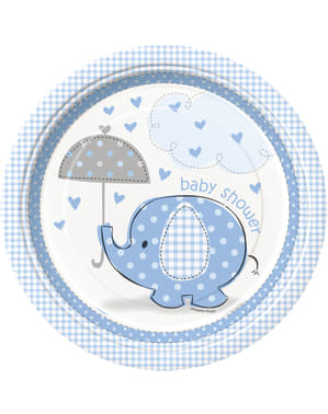 8 medium blue plate (23 cm) - Umbrellaphants Blue