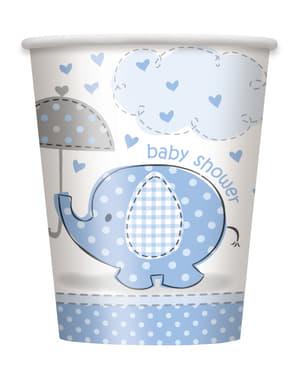 Sæt af 8 medium blå kopper - Umbrellaphants Blue