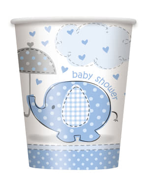 Zestaw 8 średnich niebieskich kubków - Umbrellaphants Blue