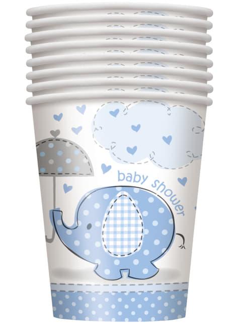 Conjunto de 8 copos médios azuis - Umbrellaphants Blue