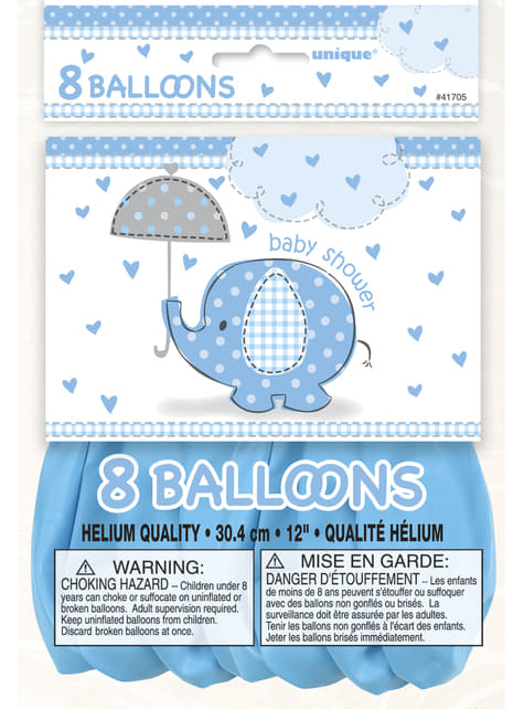 8 balões azui (30 cm) - Umbrellaphants Blue