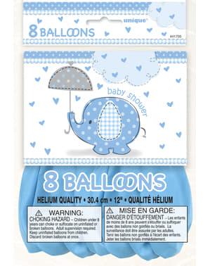 Sæt af 8 blå ballonner - Umbrellaphants Blue