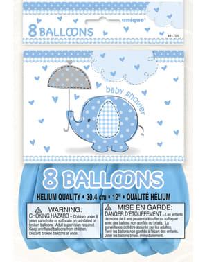 Zestaw 8 niebieskich balonów - Umbrellaphants Blue