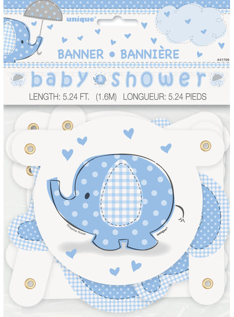 Grinalda Baby Shower azul - Umbrellaphants Blue