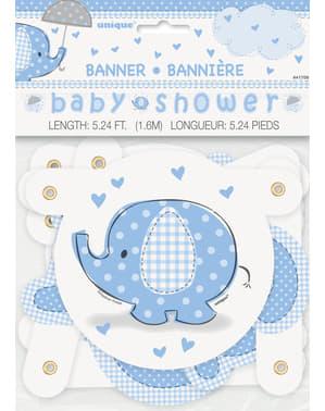 Niebieski banner na Baby Shower - Umbrellaphants Blue