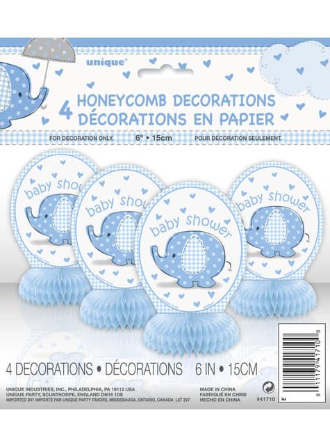 4 decoraciones de mesa azul - Umbrellaphants Blue - para tus fiestas