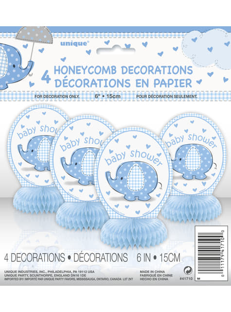 Conjunto de 4 decorações de mesa azul - Umbrellaphants Blue