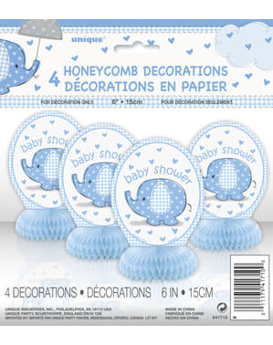 Tischdeko Set blau 4-teilig - Umbrellaphants Blue