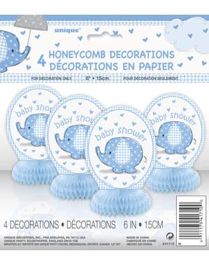 Zestaw 4 niebieskich dekoracji na stół - Umbrellaphants Blue