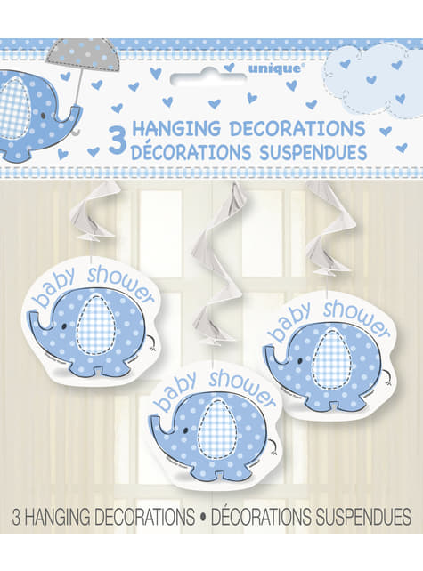 3 blue hanging decorations - Umbrellaphants Blue
