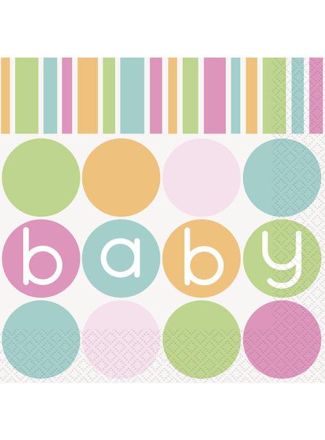 16 grandes serviettes - Pastel Baby Shower
