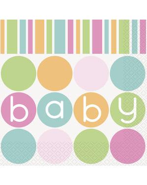 Sett med 16 store servietter - Pastell Baby Shower