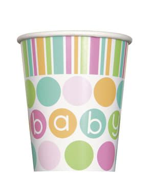 Sada 8 kelímků - Pastel Baby Shower