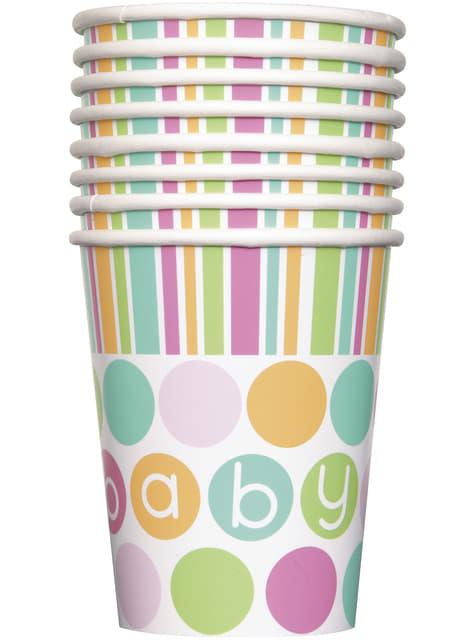 Conjunto de 8 copos - Pastel Baby Shower