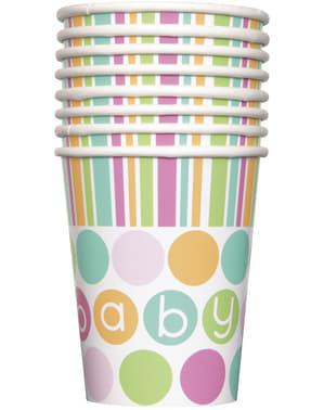 Sett med 8 kopper - Pastell Baby Shower