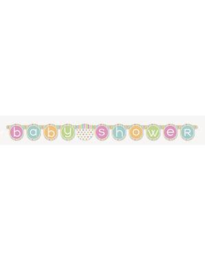 שלט קיר - מסיבת לידה לתינוק פסטל