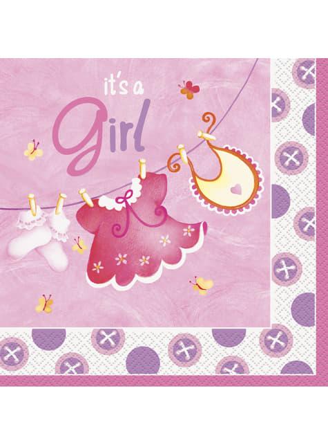 16 grandes serviettes It's a girl - Clothesline Baby Shower