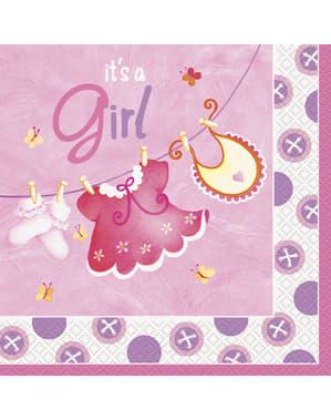 16 grote It's a Girl servette (33x33 cm) - Clothesline Baby Shower