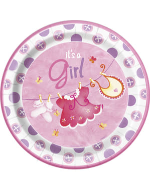 8 pratos It`s a Gir (23 cm) - Clothesline Baby Shower