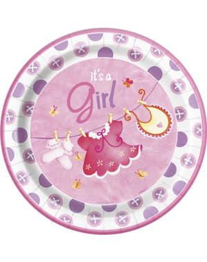 Sett med 8 It's a Girl tallerken - Clothesline Baby Shower