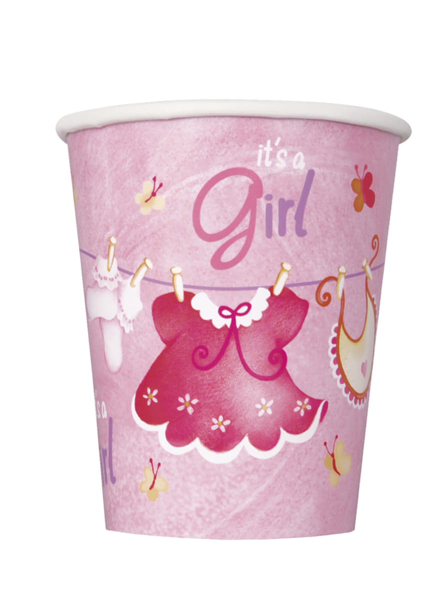 Set Of 8 Its A Girl Cups Clothesline Baby Shower Fast Delivery