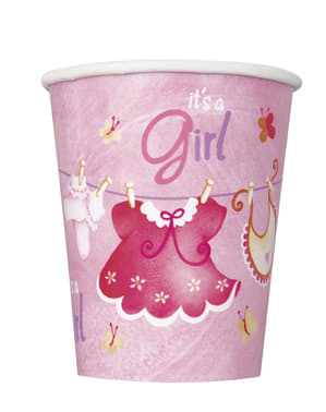 8 vasos It's a Girl! - Pink Clothesline Baby Shower