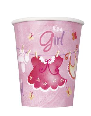 Sett med 8 It's a girl kopper - Clothesline Baby Shower