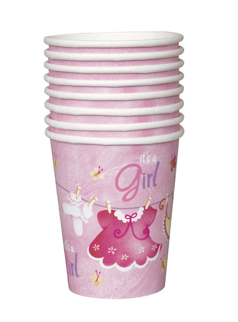 8 vasos It's a Girl! - Pink Clothesline Baby Shower - para tus fiestas